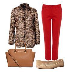 Camisa animal print + calça vermelha