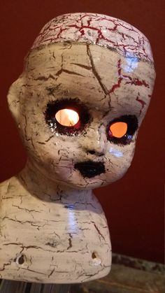 """One-of-a-kind Upcycled Recycled Repurposed Creepy Doll Head Steampunk Art """"Patty's On A Pedestal"""" Lamp w/Flicker Flame Night Light Bulb by UrsMineNours on Etsy https://www.etsy.com/listing/455947376/one-of-a-kind-upcycled-recycled"""