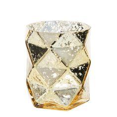 Lumignon origami en verre H 9 cm ANTIC GOLD