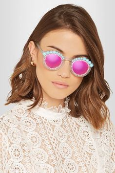 Freda Banana - Lulu Round-frame Embellished Matte-acetate Mirrored Sunglasses - Bright pink - one size Cool Sunglasses, Sunglasses Accessories, Round Sunglasses, Mirrored Sunglasses, Sunnies, Round Frame, Bright Pink, Craft Ideas, Style