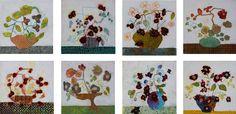 mixed media flower paintings