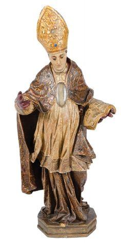 SÃO GENARO. Rara imagem em madeira policromada com pedras semi-preciosas encrustadas. Alt.: 42cm. Portugal-Séc.XVIII. Base r$3.000,00. Abr15.