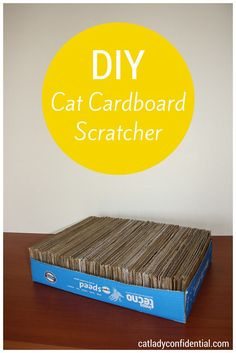 DIY cat cardboard scratcher. For more DIY projects for cat lovers visit http://catladyconfidential.com