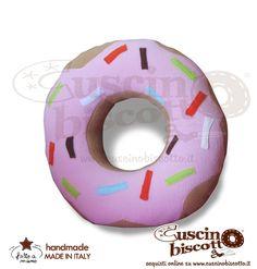 Cuscino Biscotto - Ciambella Glassata / Donuts Rosa (Fatto a mano in Italia)