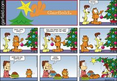 "Created by Jim Davis, Garfield is about the famous fat cat and his hilarious daily adventures with his ""pal"" Odie and others. Garfield Christmas, Christmas Comics, Christmas Humor, Garfield Comics, A Comics, Funny Comics, Comic Art, Comic Books, Jim Davis"