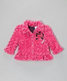 Pink Bow Faux Fur Ruffle Coat - Infant, Toddler & Girls