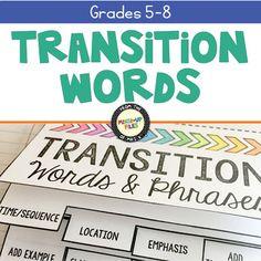 Transition Words Flipbook by Mixed-Up Files | Teachers Pay Teachers