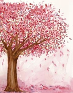 Tree in pink Pretty In Pink, Pink Love, Tree Illustration, Illustrations, Pink Brown, Red And Pink, Hot Pink, Tout Rose, Pink Trees