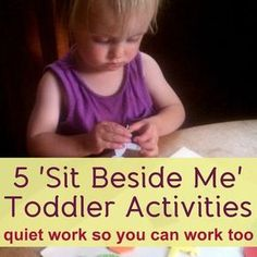 Quiet Toddler Activities - Ideas for Independent Play 5 Quiet quot;Sit Beside Me quot; Toddler Activities Ideas for Independent Play (Creative With Quiet quot;Sit Beside Me quot; Toddler Activities Ideas for Independent Play (Creative With Kids) Quiet Toddler Activities, Toddler Play, Toddler Learning, Craft Activities For Kids, Baby Play, Infant Activities, Preschool Activities, Toddler Games, Time Activities