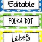 This is a set of 21 different colored, editable polka dot labels.  It includes rectangular, square and circular labels.  All labels are PNG images ...