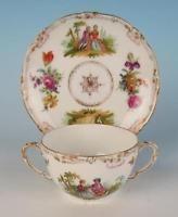 Antique Dresden Hand Painted Portraits 2 Handled Bouillon Cup & Saucer Porcelain