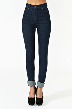 Second Skin Jeans - Dark Wash. love how high waisted these are; would want ankle-length, however, with no cuff.