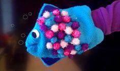 Kris de Vis: leuk voor bij De mooiste vis van de Zee. Gemaakt van een washandje.