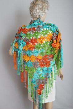 Colorful crochet scarf shawl Big scarf shawl cowl by SenasShop