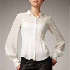 Theory Sheer Georgette Soft Ivory Nolym Blouse L Pull yourself together.  This Theory blouse keeps your look crisp & yet dramatic.  Nolym style.  Sheer soft Ivory.  Spread collar; button front.  Long bishop sleeves.  Seaming detail creates a tailored silhouette. L Theory Tops Blouses