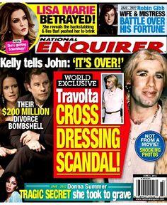 National Enquirer cover John Travolta cross dressing scandal National Enquirer, Kelly Preston, Tyler Durden, Double Life, Internet Movies, Reading Material, Material Art, John Travolta, Movie Trailers