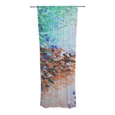 "Ebi Emporium ""Winter Retreat"" Brown Teal Decorative Sheer Curtain"