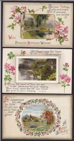 9 Birthday Greetings Flowers Scenic Victorian Embossed Antique Postcard Lot | eBay