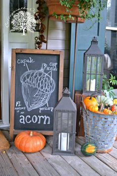 Autumn Chalkboard Art on the front porch. I need that friggen olive bucket!