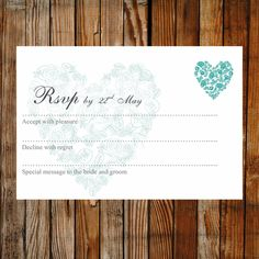 Printable RSVP card - Trio of Hearts teal. View the full collection to see matching items. Easy to edit and print. Original design by Love Wedding Templates.
