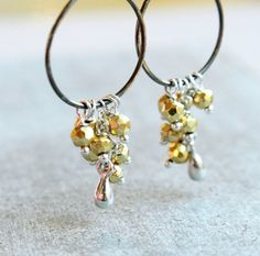 Pyrite Earrings Mixed Metal Jewelry Oxidized Silver by Hildes