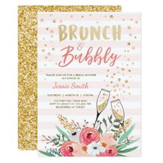 #Brunch & Bubbly Bridal shower invitation Pink Gold - #invitations #wedding #bridalshower #beautiful #bride