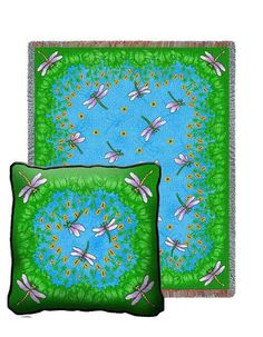 Dancing Dragonfly Tapestry Pillow and Throw Set - - Great for #Gift giving - Great for #Decorating - Buy at Snugglebug #Pillows and #Throws - www.snugglebugpillowsandthrows.com