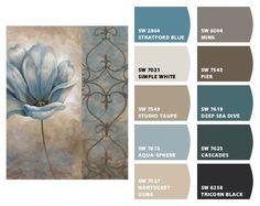 Color palett of Sherwin Williams blues/earth tones/cream/