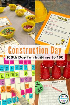 Construction Day- Building to 100 with STEM: Day of School Activities Do you want to try something different to celebrate the Day of School? Welcome to the Construction Company! Your crew will lov 2nd Grade Activities, Science Activities, 100 Days Of School Centers, 100th Day Of School, School Fun, Pre School, Planning School, Party Planning, Kindergarten Stem