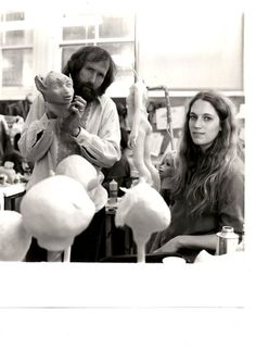 Jim Henson and Wendy Froud working on the Dark Crystal together.