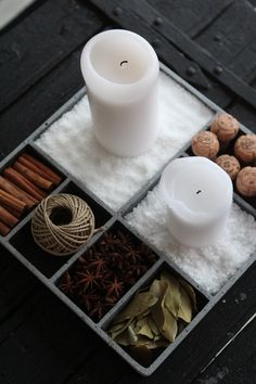 Candles and things in boxes.