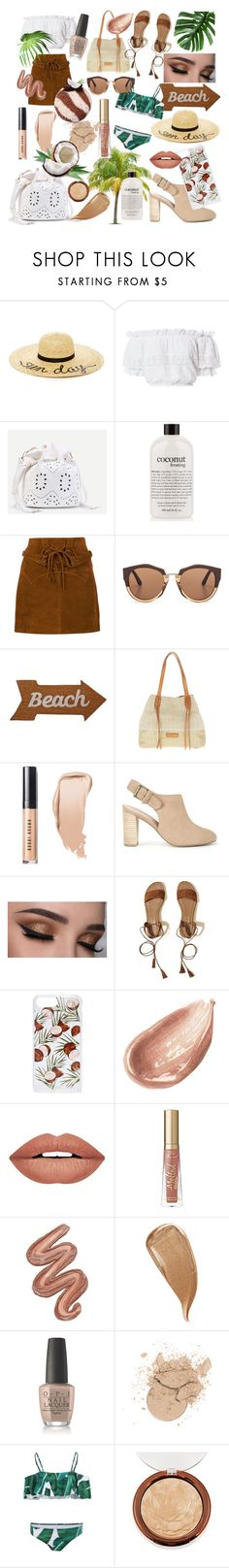 """""""summer style- coconut inspired"""" by que2001 ❤ liked on Polyvore featuring Eugenia Kim, LoveShackFancy, philosophy, Faith Connexion, Marni, Mud Pie, Liebeskind, Bobbi Brown Cosmetics, Sole Society and Hollister Co."""