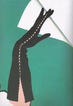 Rene Gruau Illustration for 'Crecendoe Gloves' 1952 Fashion Illustration Sketches, Magazine Illustration, Fashion Sketches, Illustration Art, Lifestyle Illustrations, Fashion Drawings, Jacques Fath, Marie Claire, Pierre Balmain