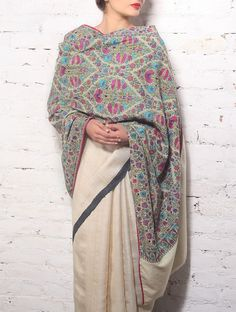Old Pashmina Shawl With All-Over Embroidery Embroidery Online, Embroidery Suits, Embroidery Fashion, Indian Attire, Indian Wear, Indian Outfits, Indian Clothes, Indian Style, Kashmiri Suits