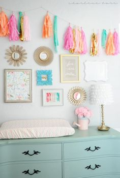 Gold, Coral & Mint Nursery {Gallery Wall with Tissue Paper Garland}