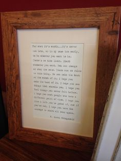 Rustic wood effect frame with hand-typed F. Scott Fitzgerald OR quote of your choice Anniversary Ideas For Him, First Wedding Anniversary, Paper Anniversary, Typed Quotes, For What It's Worth, Hand Type, Rustic Wood, Valentine Gifts, Favorite Quotes