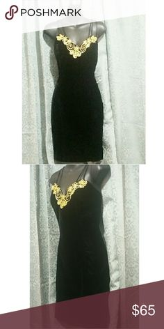 NOS Vtg BLACK VELVET & GOLD LAME Coctail Dress Sexy vintage wiggle dress.  All velvet with gold lame applique.  3 straps on each shoulder crisscrossed at the back.  Form fitting and highly flattering, this dress gives the wearer a smaller waist a beautiful figure by holding in at just the right places.  Tagged size is 13 but vintage sizing is smaller than today sizing.  I would say this dress would best fit a size 8-10.     NEW OLD STOCK WITH TAGS!! Vintage Dresses Maxi