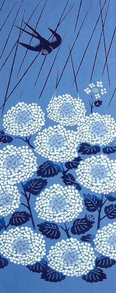 Japanese Tenugui Towel Cotton Fabric, Swallow, Hydrangea, Blue Rain Modern Art Design, Wall Art Hanging, Wrapping, Headband, Scarf, JapanLovelyCrafts