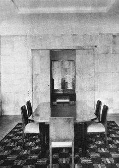 The Victomte and Vicomtess de Noailles' Paris Dining Room designed by Jean-Michel Frank in 1926. Photograph by Man Ray.
