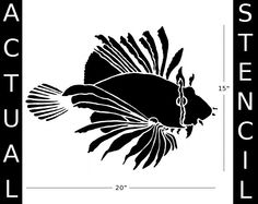 Wall Stencil, Reusable - LIONFISH Large Fish Stencil - DIY Home Decor/Wall Art. $34.95, via Etsy.