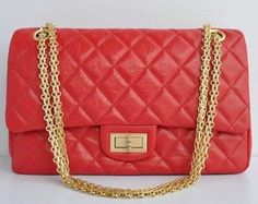 Gold Chain Handbags, Category: 2.55 Reissue, Color: Red Elephant Pattern, Material: Leather
