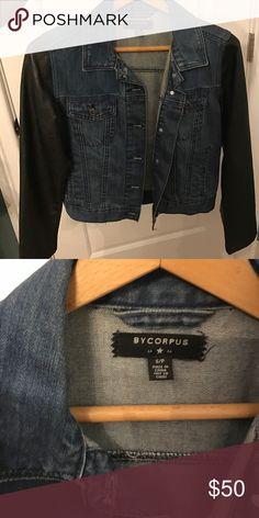 Jacket Faux leather sleeve jean jacket Urban Outfitters Jackets & Coats Jean Jackets