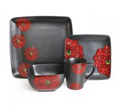 American Atelier Asiana Black-Red 16 Piece Dinnerware Set