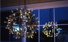 How to make the most gorgeous lamp out of two plant baskets and Christmas lights