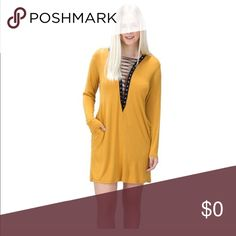 🌻HP🌻Lace-Up Pocket Dress Brand new with tags...This dress is the perfect mixture of comfort, style, and femininity.  The mustard color also goes well with all skin tones.  🌸🌺🌷🌻🌼💐 It also has pockets which are so cute and useful.  Made in USA 🇺🇸 The Blossom Apparel Dresses Midi