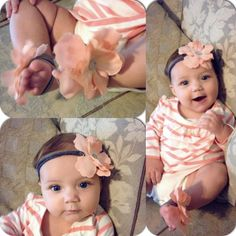 Baby girl flower sandals and matching headband.