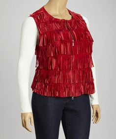 Take a look at this Red Suede Fringe Vest  - Plus by berek on #zulily today!