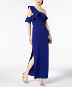 Ruffled One-Shoulder Gown | macys.com