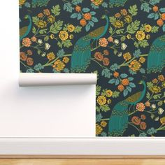 Peacock Wallpaper - Peacock Garden Midnight Wonderland By Ceciliamok - Custom Printed Removable Self Adhesive Wallpaper Roll by Spoonflower Peacock Wallpaper, Wallpaper Panels, Self Adhesive Wallpaper, Custom Wallpaper, Wallpaper Roll, Peel And Stick Wallpaper, Wallpaper Ideas, Forest Wallpaper, San Carlos