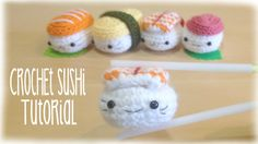 How to crochet cute kawaii Sushi - Amigurumi Tutorial. Learn how to crochet this super cute sushi amigurumi . Its super easy to make, just takes some practice. A super delicious way to make the cutest meal . Good luck and happy crafting! Crochet Kawaii, Crochet Food, Cute Crochet, Crochet Crafts, Crochet Projects, Crochet Cupcake, Crochet Birds, Crochet Bear, Crochet Animals